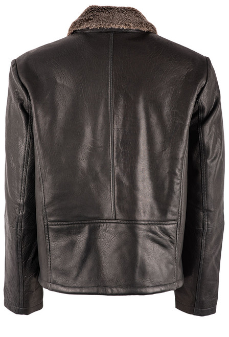 Stetson Men's Leather Jacket with Faux Fur Collar - Back
