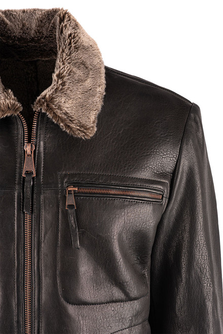 Stetson Men's Leather Jacket with Faux Fur Collar - Collar