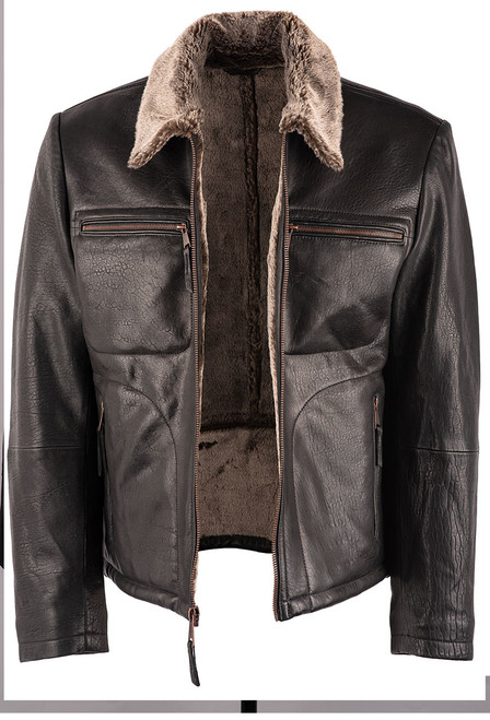 Stetson Men's Leather Jacket with Faux Fur Collar - Open