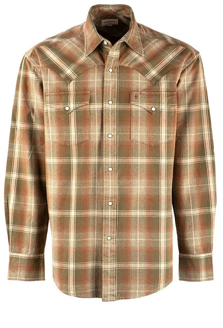 Stetson Vintage Green Plaid Snap Shirt - Front