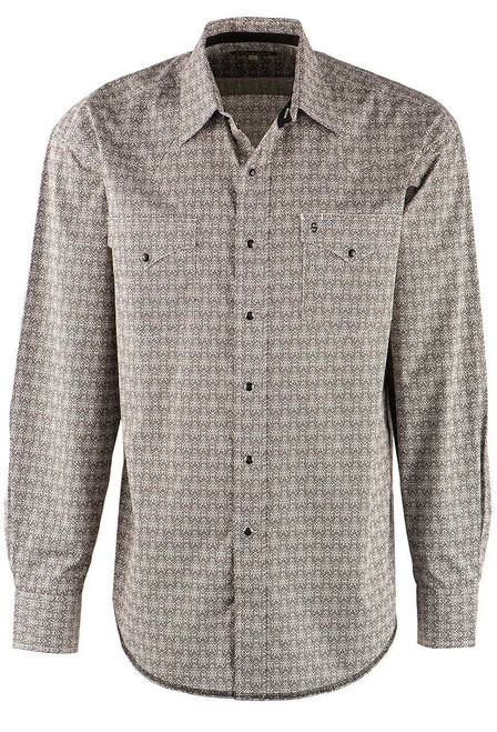 Stetson Black and Ivory Medallion Snap Shirt - Front