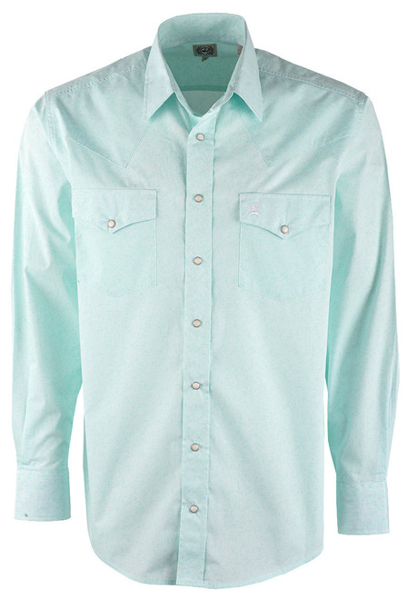 Cinch Light Blue Paisley Print Snap Shirt - Front