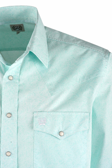 Cinch Light Blue Paisley Print Snap Shirt  - Close