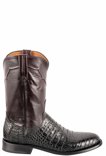 Lucchese Men's Black Caiman Belly Boots - Side