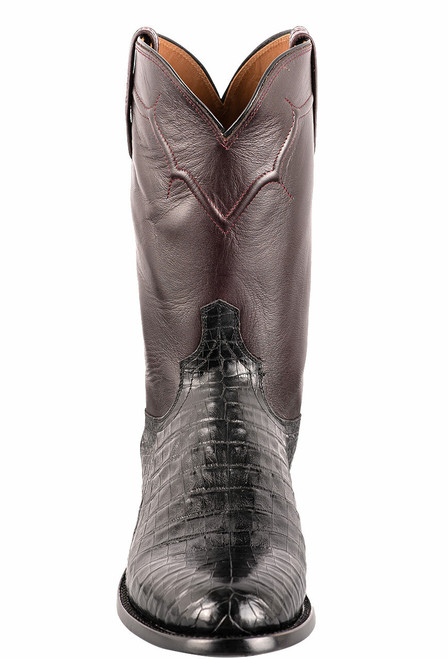 Lucchese Men's Black Caiman Belly Boots - Front