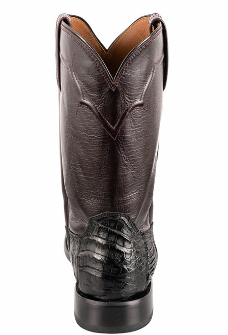 Lucchese Men's Black Caiman Belly Boots - Back