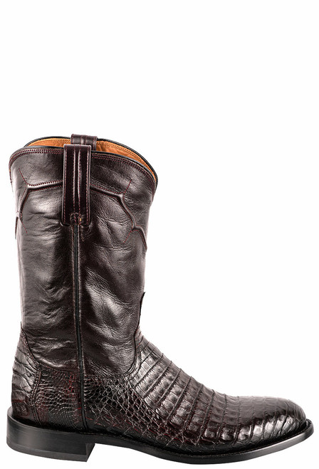 Lucchese Men's Black Cherry Caiman Belly Boots - Side