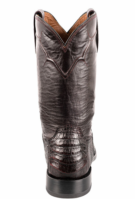 Lucchese Men's Black Cherry Caiman Belly Boots - Back
