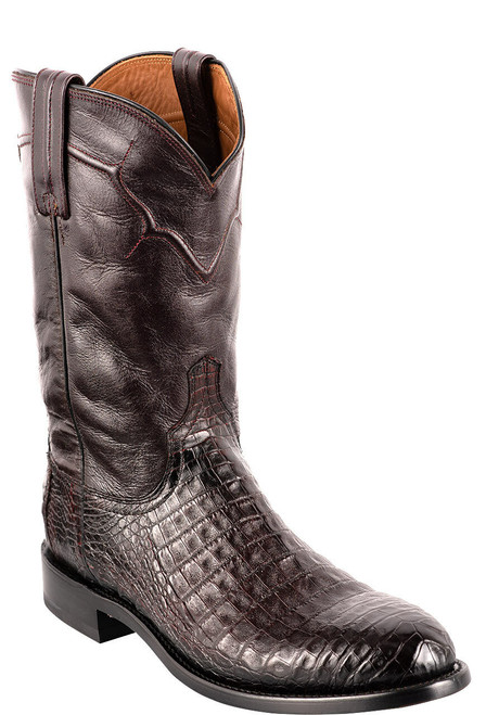 Lucchese Men's Black Cherry Caiman Belly Boots - Angle