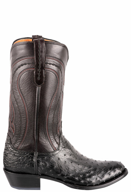Lucchese Men's Black Full-Quill Ostrich Boot - Side
