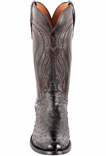 Lucchese Men's Black Full-Quill Ostrich Boots - Front
