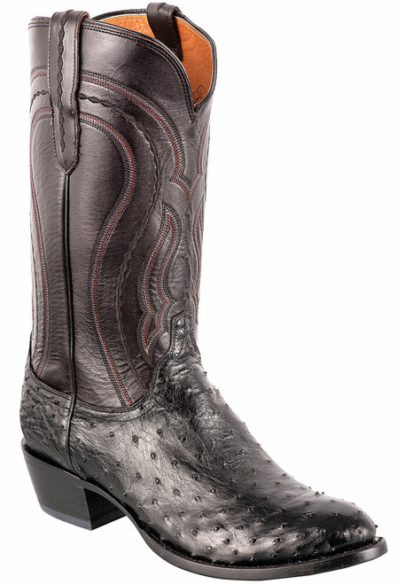 Lucchese Men's Black Full-Quill Ostrich Boots - Angle