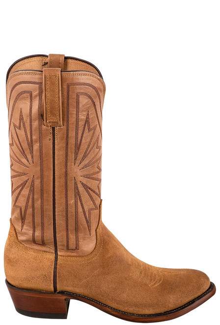 Lucchese Sand Burnished Suede Cowboy Boots - Side