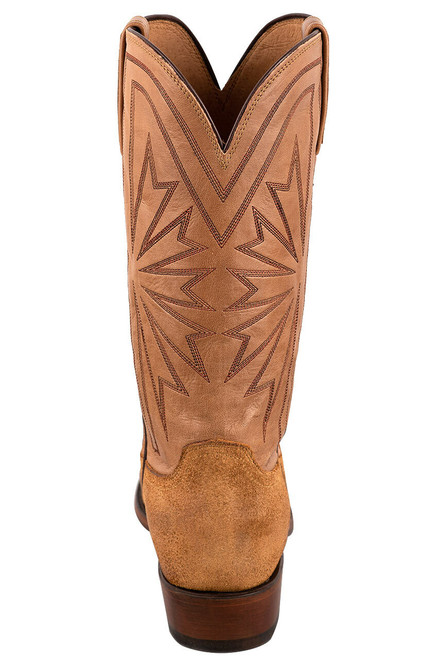 Lucchese Sand Burnished Suede Cowboy Boots - Back