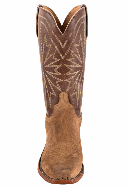 Lucchese Olive Burnished Suede Cowboy Boots - Front