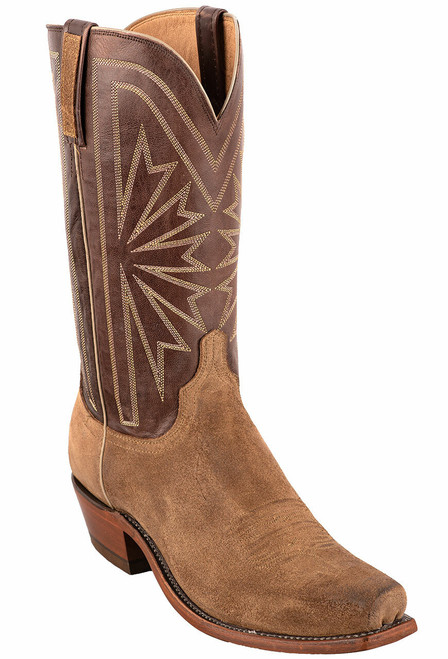 Lucchese Olive Burnished Suede Cowboy Boots - Angle