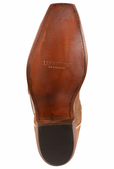 Lucchese Olive Burnished Suede Cowboy Boots