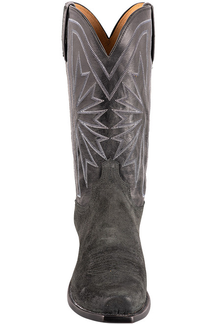 Lucchese Black Burnished Suede Cowboy Boots - Front