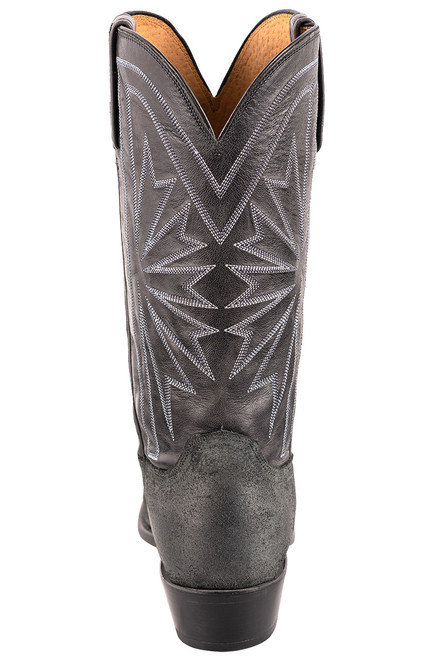 Lucchese Black Burnished Suede Cowboy Boots - Back