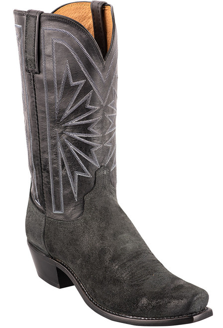 Lucchese Black Burnished Suede Cowboy Boots - Angle
