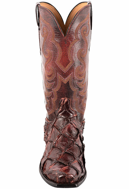 Lucchese Black Cherry Pirarucu Fish Boots - Front