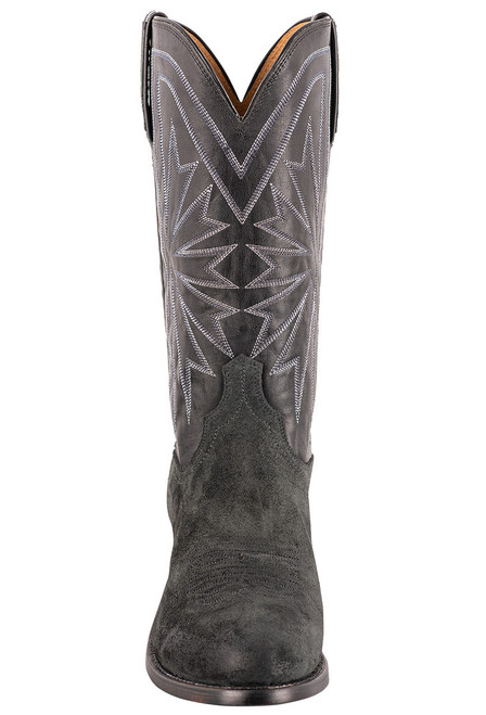 Lucchese Black Burnished Suede Round Toe Cowboy Boots - Front