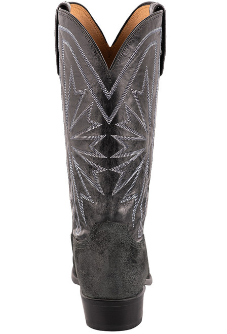 Lucchese Black Burnished Suede Round Toe Cowboy Boots - Back