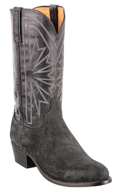 Lucchese Black Burnished Suede Round Toe Cowboy Boots - Angle