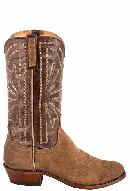 Lucchese Olive Burnished Suede Round Toe Cowboy Boots - Side