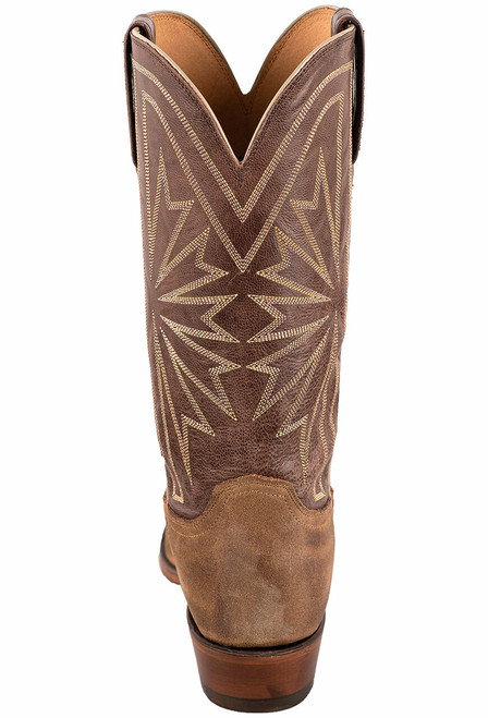 Lucchese Olive Burnished Suede Round Toe Cowboy Boots - Back