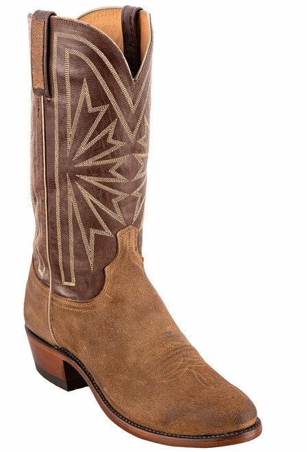 Lucchese Olive Burnished Suede Round Toe Cowboy Boots - Angle