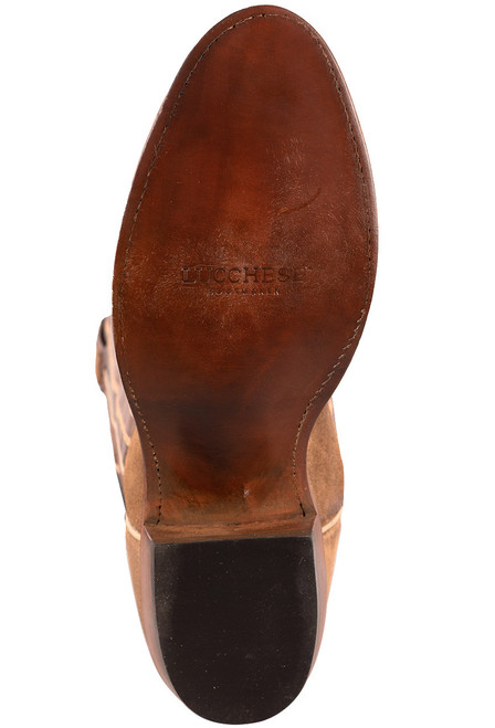 Lucchese Olive Burnished Suede Round Toe Cowboy Boots - Bottom
