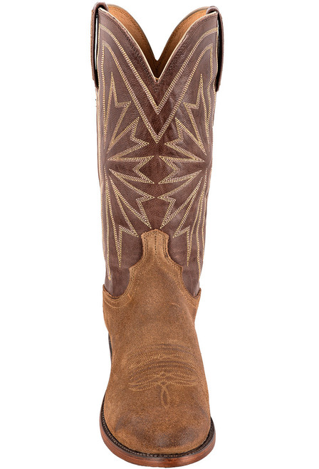 Lucchese Olive Burnished Suede Round Toe Cowboy Boots - Front