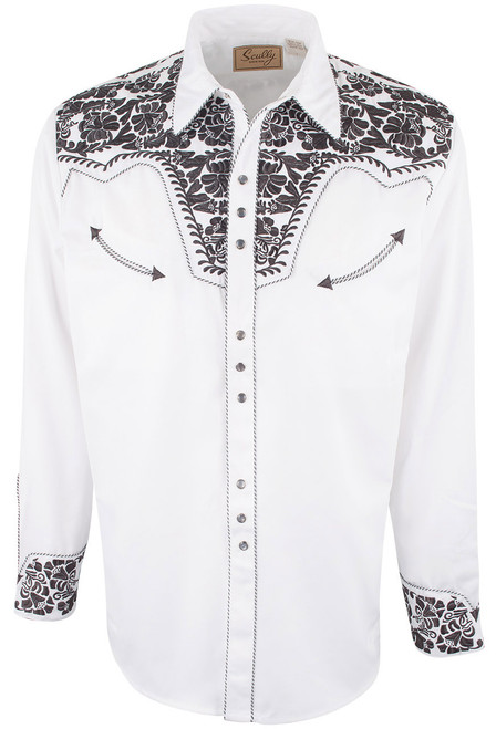 Scully Men's Gunfighter Western Snap Shirt - Pewter