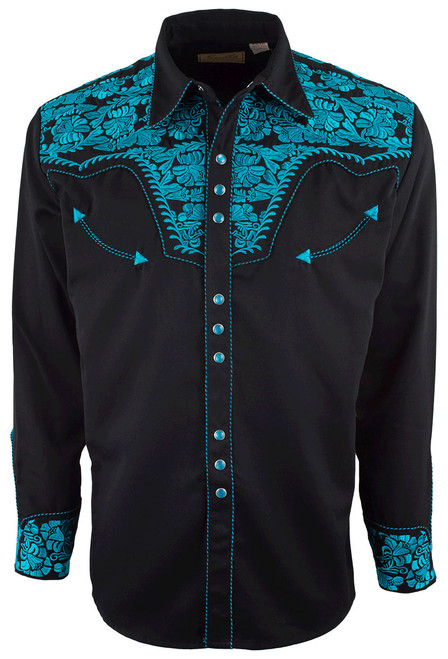 Scully Men's Gunfighter Western Snap Shirt - Turquoise - Front