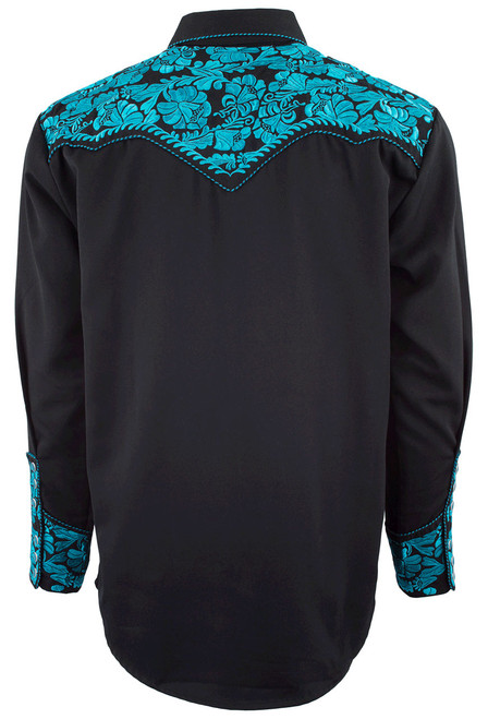 Scully Men's Gunfighter Western Snap Shirt - Turquoise