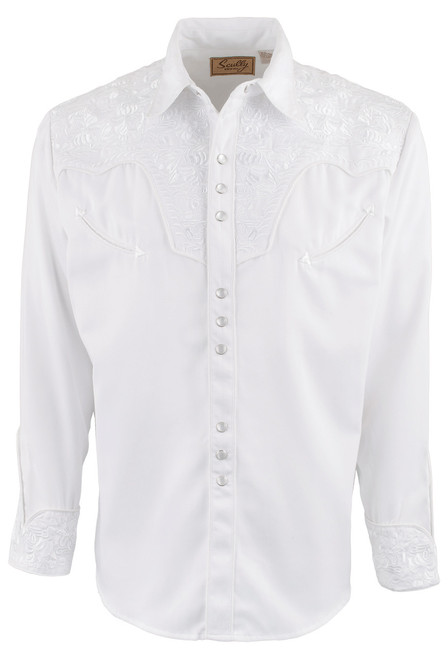 Scully Men's Gunfighter Western Snap Shirt - White - Front