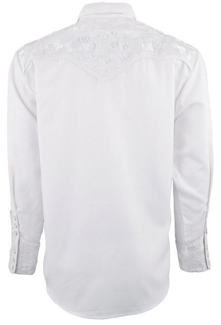 Scully Men's Gunfighter Western Snap Shirt - White - Back