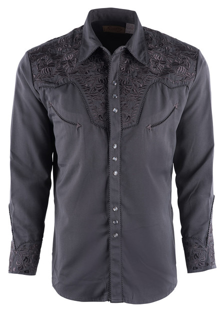 Scully Men's Gunfighter Western Snap Shirt - Charcoal - Front