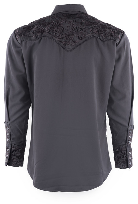 Scully Men's Gunfighter Western Snap Shirt - Charcoal - Back