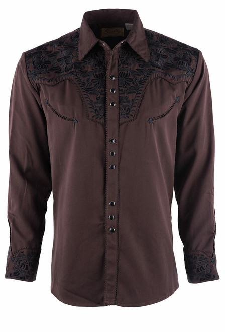 Scully Men's Gunfighter Western Snap Shirt - Chocolate - Front