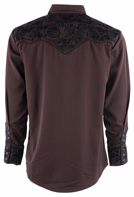 Scully Men's Gunfighter Western Snap Shirt - Chocolate - Back