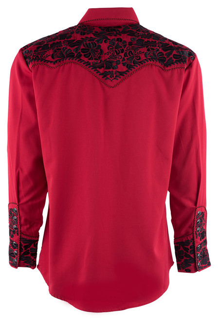 Scully Men's Gunfighter Western Snap Shirt - Red - Back