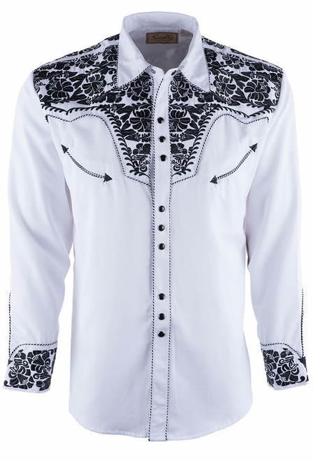 Scully Men's Gunfighter Western Snap Shirt - White and Black - Front