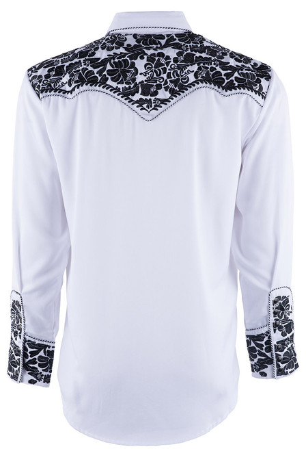 Scully Men's Gunfighter Western Snap Shirt - White and Black - Back