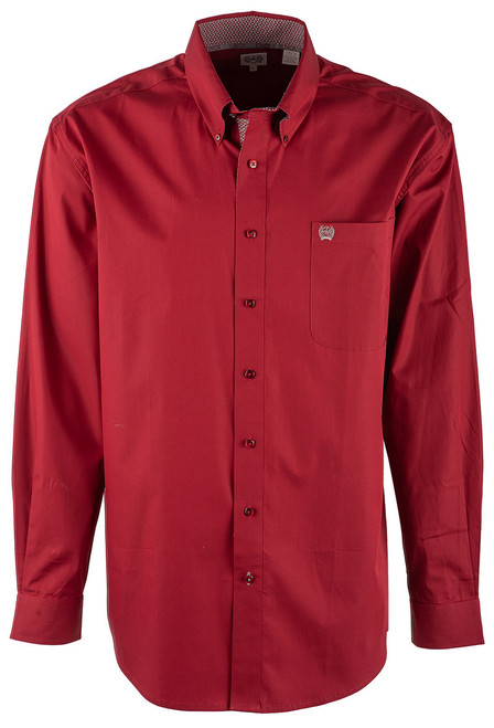 Cinch Burgundy Plain Weave Shirt - Front