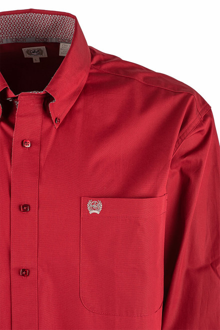Cinch Burgundy Plain Weave Shirt - Shoulder