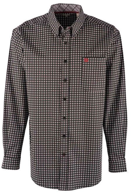 Cinch Black Diamond Foulard Print Long Sleeve Shirt - Front