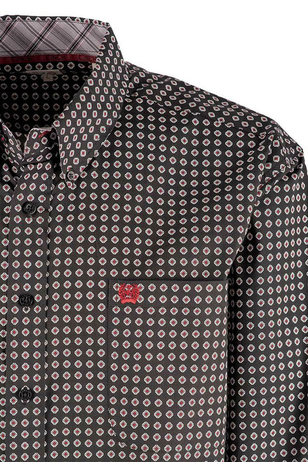 Cinch Black Diamond Foulard Print Long Sleeve Shirt - Pocket