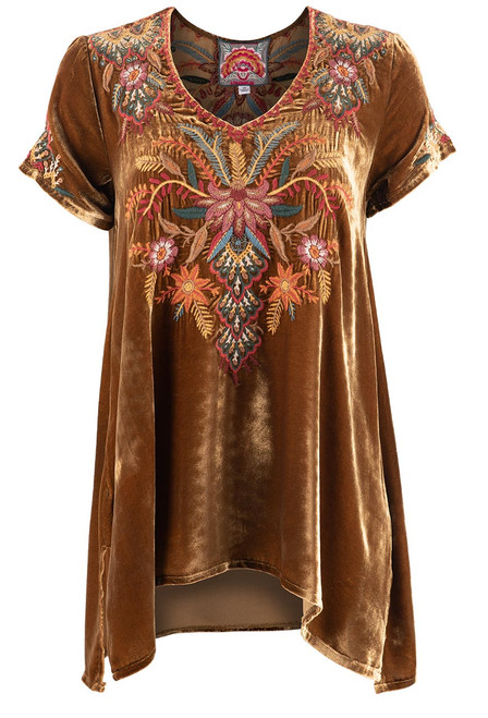 Johnny Was Aivita Floral Embroidered Velvet Drape Blouse